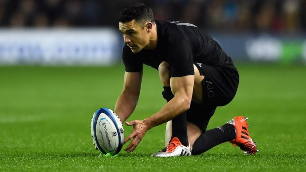 Out of sorts: Dan Carter lines up a shot for goal against Scotland at Murrayfield on Saturday.