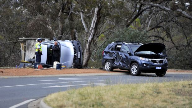 A two-car crash on the corner of Fairbairn Ave and Northcott Drive in Canberra.