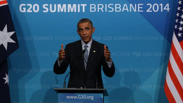 Thumbs up: US President Barack Obama at the Brisbane G20 summit.