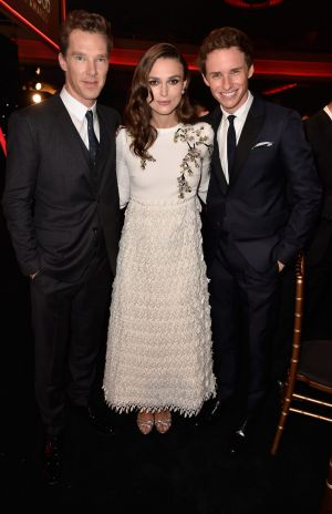 With best mate Benedict Cumberbatch and Keira Knightley.