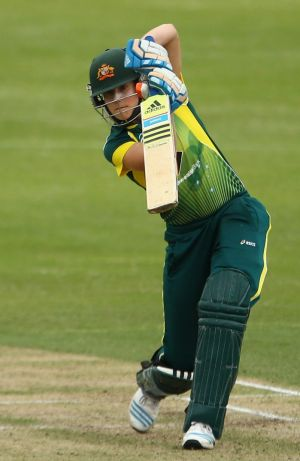 More cautious: Ellyse Perry hit an unbeaten 64.