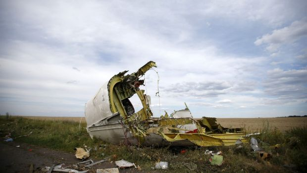 Remnants of a tragedy: Part of the MH17 wreckage near Hrabove.
