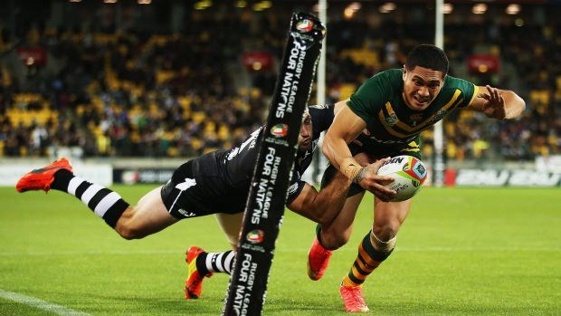 Sione Mata'utia dives for the line against the Kiwis but the try  was called back.