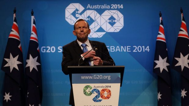 Prime Minister Tony Abbott during a press conference at the conclusion of the G20 leader's summit.