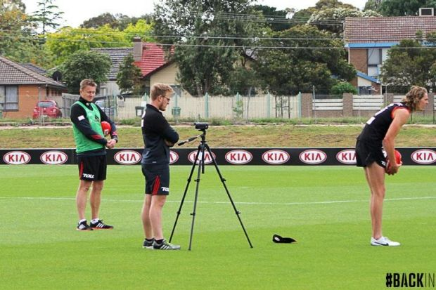 Matthew Lloyd (not pictured) gets right into work with Joe Daniher at Essendon.