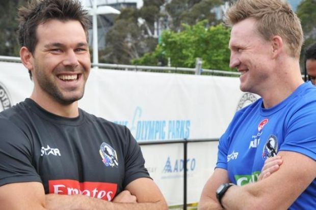 Levi Greenwood and Nathan Buckley at Collingwood's pre-season training.