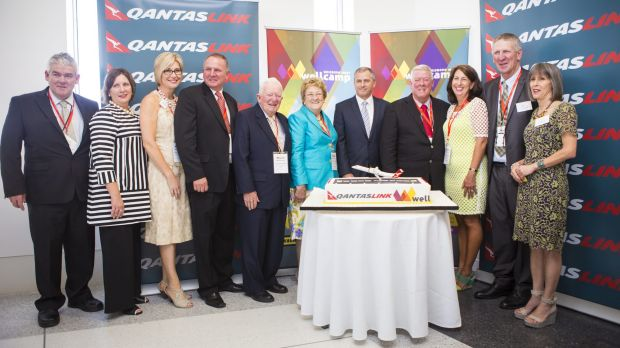 Celebrating the first flight for Brisbane West Wellcamp Airport.