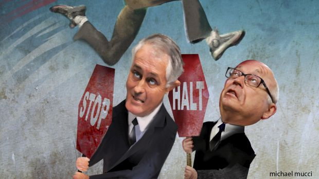 Blockers: Attorney-General George Brandis and Communications Minister Malcolm Turnbull will soon present cabinet with a ...