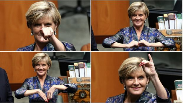 Foreign Minister Julie Bishop's hand gestures in Parliament on Monday.