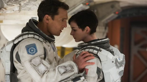 Challenging science: Matthew McConaughey and Anne Hathaway in <i>Interstellar</i>.