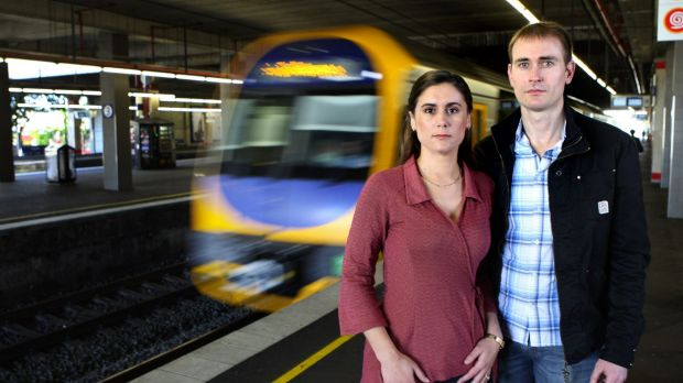 Commuters David Maywald and Jennifer Reilly were unhappy about reduced services at Kogarah.