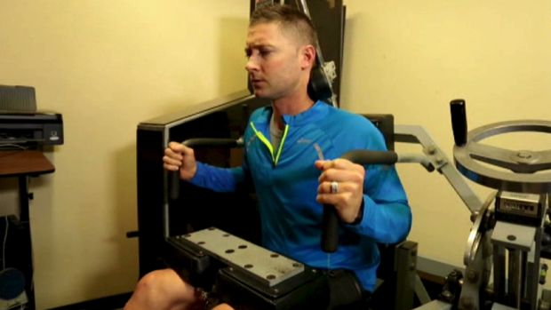 Michael Clarke on the MedX spinal machine on Tuesday.