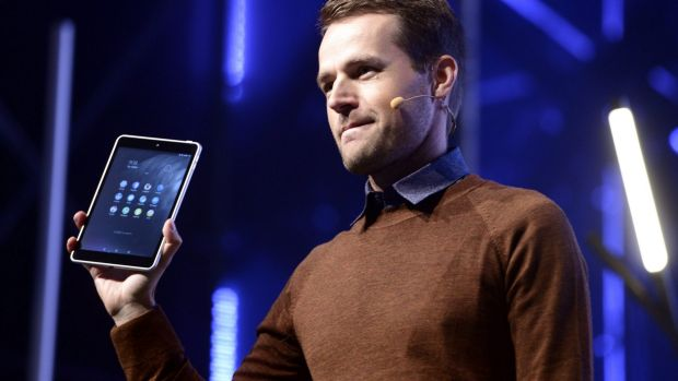 Sebastian Nystrom, head of Product Business at Nokia Technologies, presents Nokia's new N1 Android tablet at the Slush ...