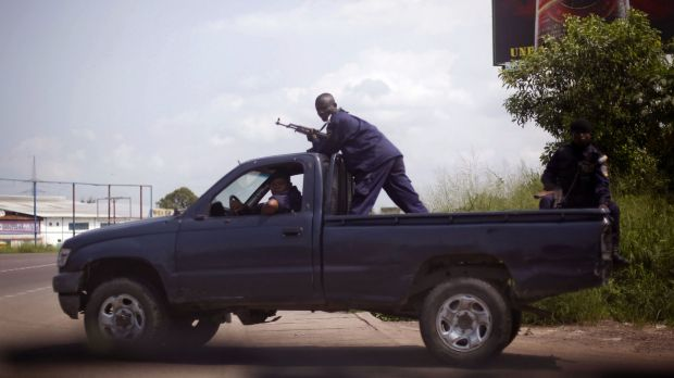 On patrol: Congolese police officers in Kinshasa in 2011.