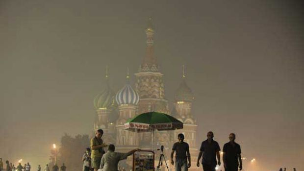 Moscow's St. Basil's Cathedral is seen through the heavy smog covering Moscow, Russia. <i>Picture: AP/Alexander ...