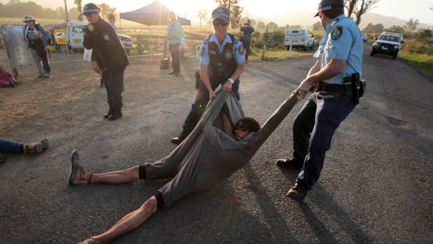 Anti-CSG protester near AGL's proposed gas field near Gloucester in NSW.
