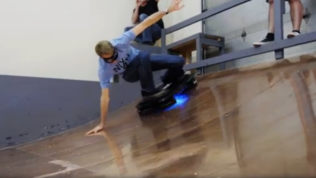 Pioneer: Tony Hawk test-rides the contraption.