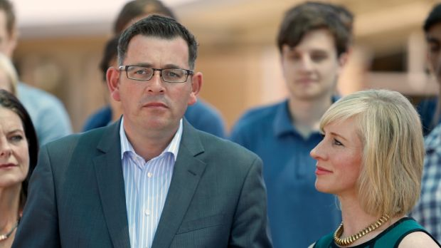 Opposition Leader Daniel Andrews with wife Catherine at the announcement at Carrum Downs Secondary College.