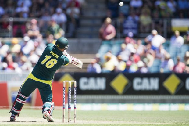 Aaron Finch of Australia makes the most of a free hit.