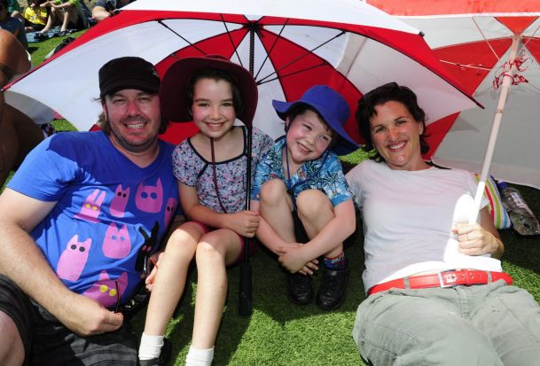 From left, The Lowe family of Queanbeyan, Scott, Scarlett,8, Felix,4 and Amy.