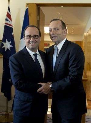 Tony Abbott and French President Francois Hollande, left, at the G20 Summit in Brisbane in 2014.