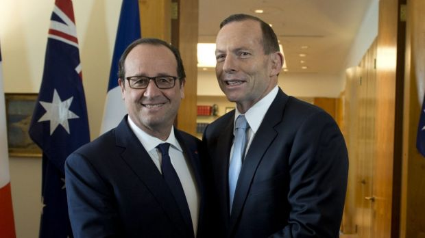 """Close partnership and friendship"": French President Francois Hollande and PM Tony Abbott pose for a photo at Parliament ..."