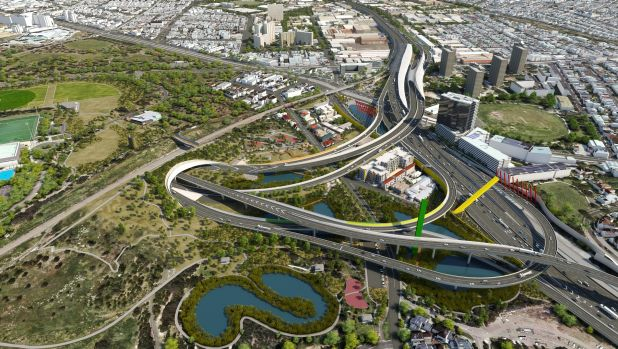 An artist's impression of the proposed East West Link's western gateway.
