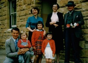 All together then: Julie Bishop as a child in the late 1950s, being held by her father, Douglas. Her mother has her ...
