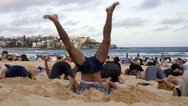 Denial: Australians burying their heads in the sands of Bondi Beach to send a message to Prime Minister Tony Abbott ...