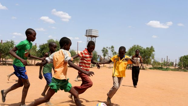 Play time: A game of football inside the camp.