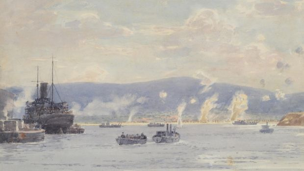 Lot 59: An eyewitness watercolour by Norman Wilkinson, Landing at 'A' Beach, Suvla Bay, Gallipoli, 7th August 1915. Sold ...