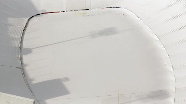Ralph Wilson Stadium in Orchard Park, New York, is buried in snow.