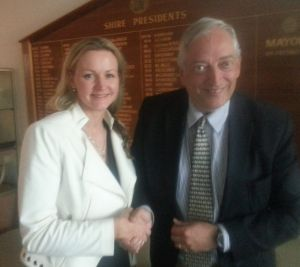 Councillor Rosalie Crestani with Lord Christopher Monckton.