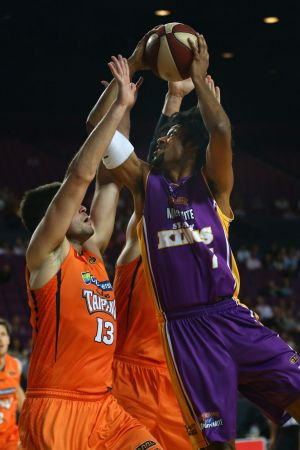 Lift off: Josh Childress heads for the hoop.