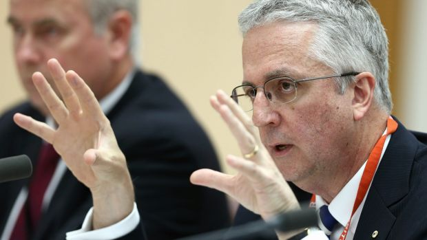 ABC Managing Director Mark Scott speaking at the Senate estimates hearing on Thursday night.