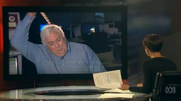 See ya: Clive Palmer decides the interview is over.
