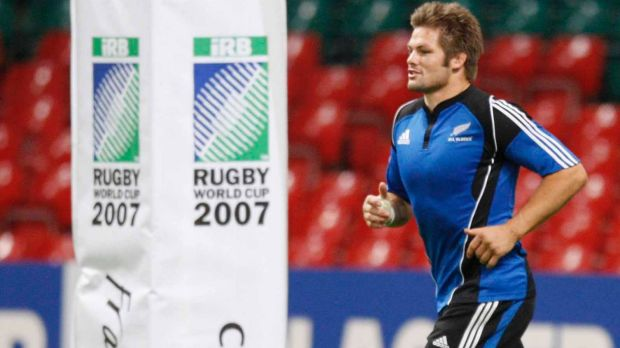 Cardiff '07: Richie McCaw at the captain's run ahead of the All Blacks' Rugby World Cup quarterfinal against France.