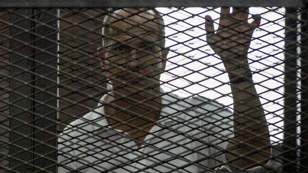 "Peter Greste is in Cairo prison, convicted of broadcasting false news and aiding a ""terrorist organisation""."