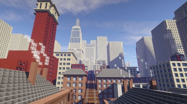 Minecraft map based on Christopher Nevinson's painting The Soul of the Soulless City 1920.
