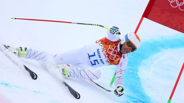 Back stress: Miller competes in the downhill of the Sochi Olympics.