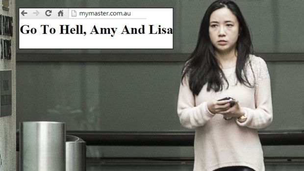 Exposed: Yingying Dou, the director of the MyMaster website, with the message, apparently referring to the ...