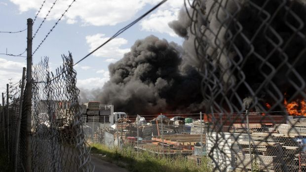 Buildings on fire at a factory complex in Lansvale, south-western Sydney