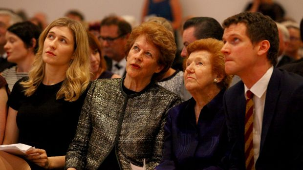 Wayne Goss's daughter Caitlin Goss, wife Roisin Goss, mother Norma Goss and son Ryan Goss at the GOMA memorial service.