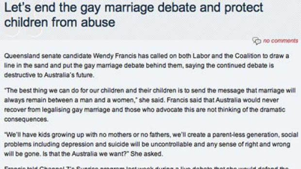 A screen grab of Francis' statement.
