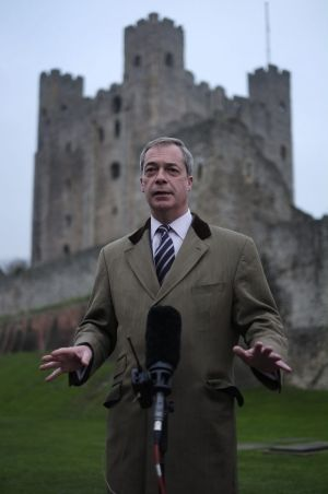 Fortress Britain: Nigel Farage, the leader of the UK Independence Party, addresses the media in front of Rochester Castle.
