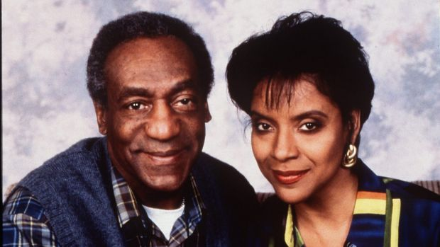 A publicity shot of Bill Cosby and on-screen wife Phylicia Rashad for The Cosby Show, which ran from 1984-1992.