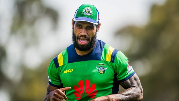 Sisa Waqa during a Canberra Raiders training session.