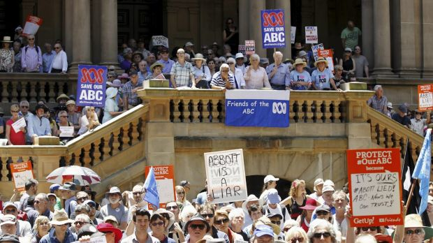 Several hundred people filled Town Hall Square to rally against ABC and SBS cuts.