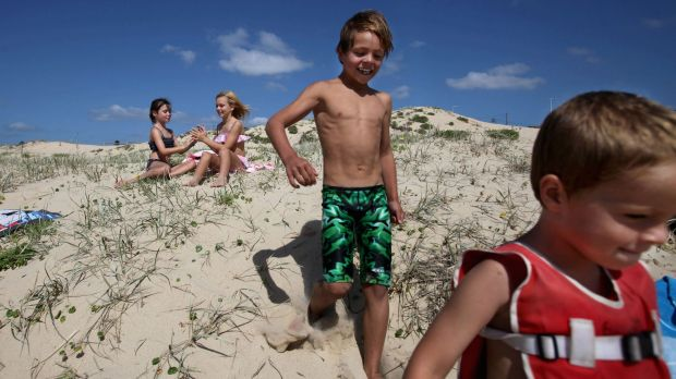 Fun in the sun: Children play in the sand dunes at Cronulla Beach on Saturday.