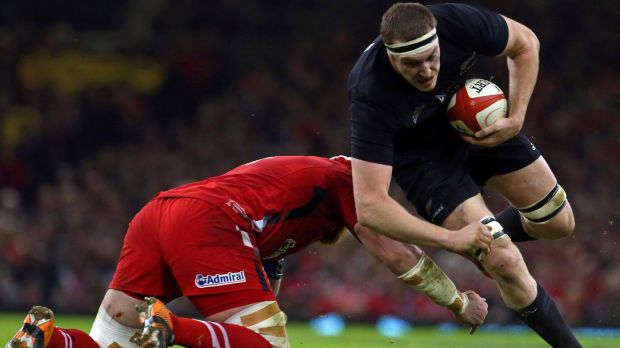 Brodie Retallick charges forward during the All Blacks' win over Wales.